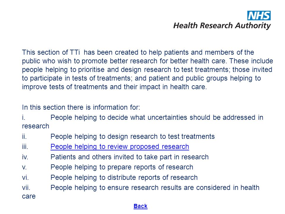 a slide set to help those reviewing research make fair, shared and consistent decisions. This section of TTi has been created to help patients and mem