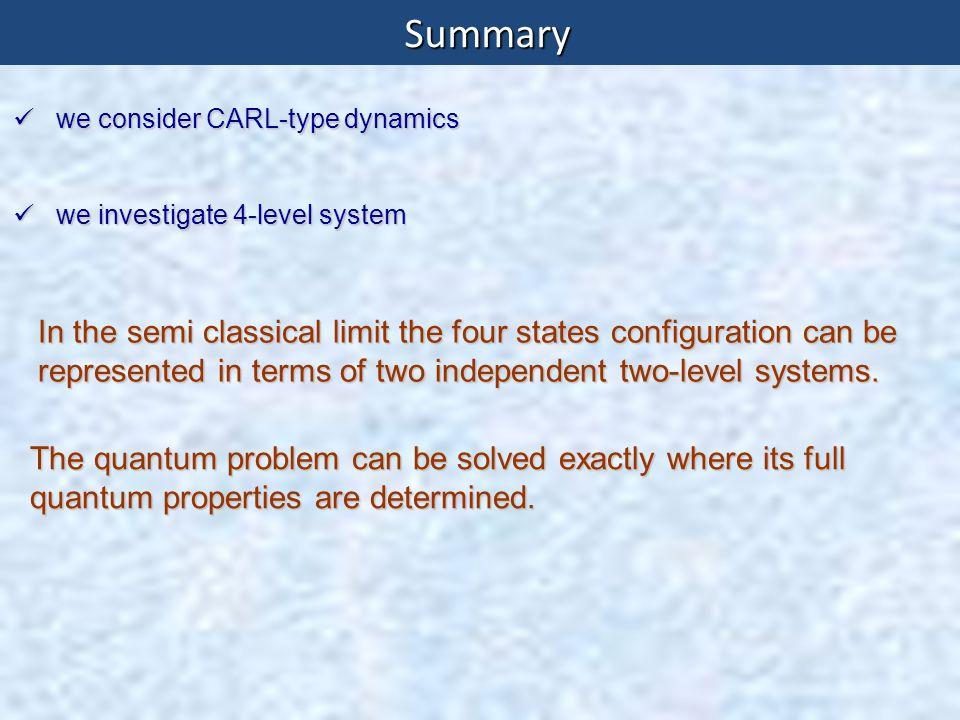 Summary we consider CARL-type dynamics we consider CARL-type dynamics we investigate 4-level system we investigate 4-level system In the semi classica