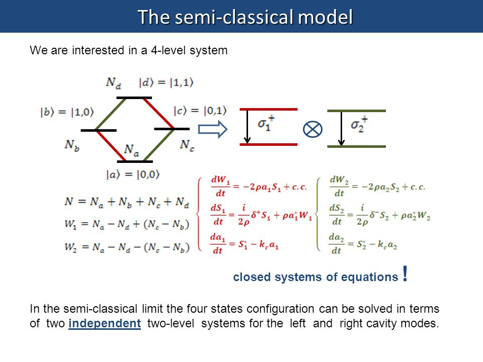 The semi-classical model closed systems of equations ! In the semi-classical limit the four states configuration can be solved in terms of two indepen