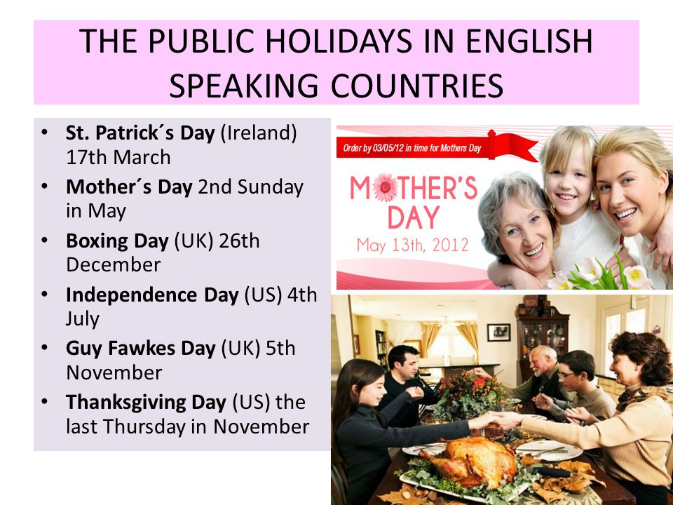 THE PUBLIC HOLIDAYS IN ENGLISH SPEAKING COUNTRIES St.