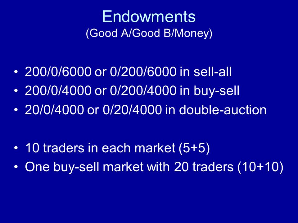 Endowments (Good A/Good B/Money) 200/0/6000 or 0/200/6000 in sell-all 200/0/4000 or 0/200/4000 in buy-sell 20/0/4000 or 0/20/4000 in double-auction 10