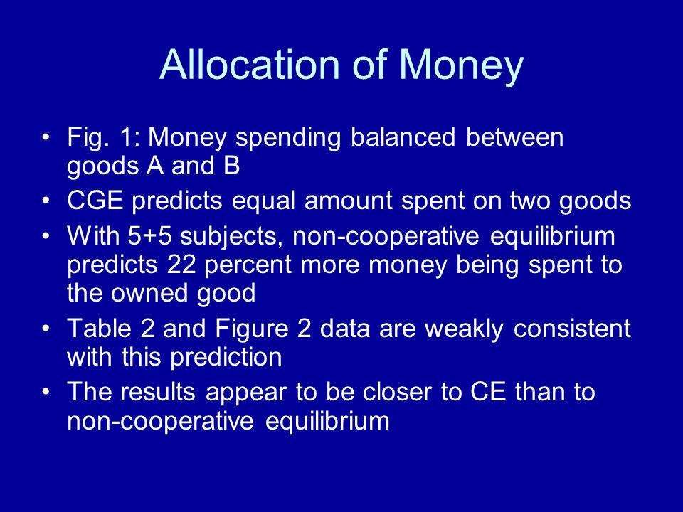 Allocation of Money Fig. 1: Money spending balanced between goods A and B CGE predicts equal amount spent on two goods With 5+5 subjects, non-cooperat