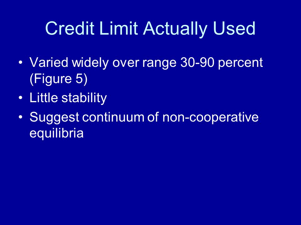 Credit Limit Actually Used Varied widely over range 30-90 percent (Figure 5) Little stability Suggest continuum of non-cooperative equilibria