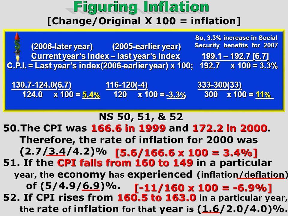CPI / INFLATION Current years index – last years index C.P.I. = Last years index x 100 Ex:The CPI was 166.6 in 1999 and 172.2 in 2000. Therefore, the