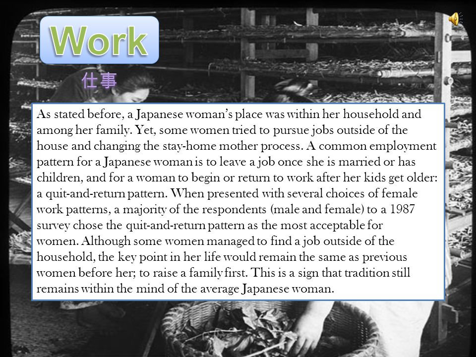 As stated before, a Japanese womans place was within her household and among her family.