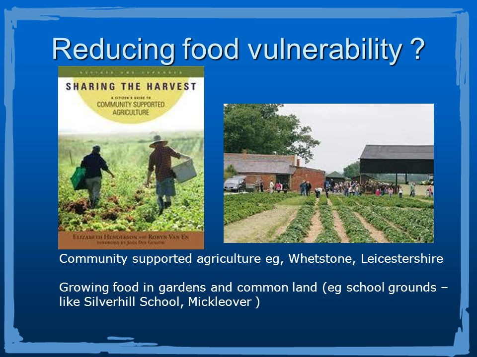 Community supported agriculture eg, Whetstone, Leicestershire Growing food in gardens and common land (eg school grounds – like Silverhill School, Mickleover ) Reducing food vulnerability ?