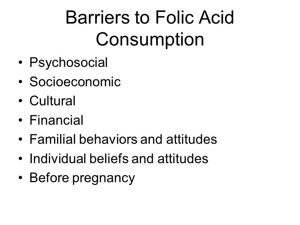 Barriers to Folic Acid Consumption Psychosocial Socioeconomic Cultural Financial Familial behaviors and attitudes Individual beliefs and attitudes Before pregnancy
