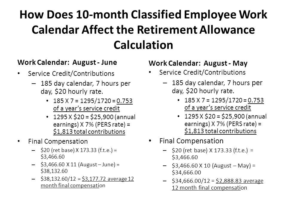 How Does 10-month Classified Employee Work Calendar Affect the Retirement Allowance Calculation Work Calendar: August - June Service Credit/Contributi