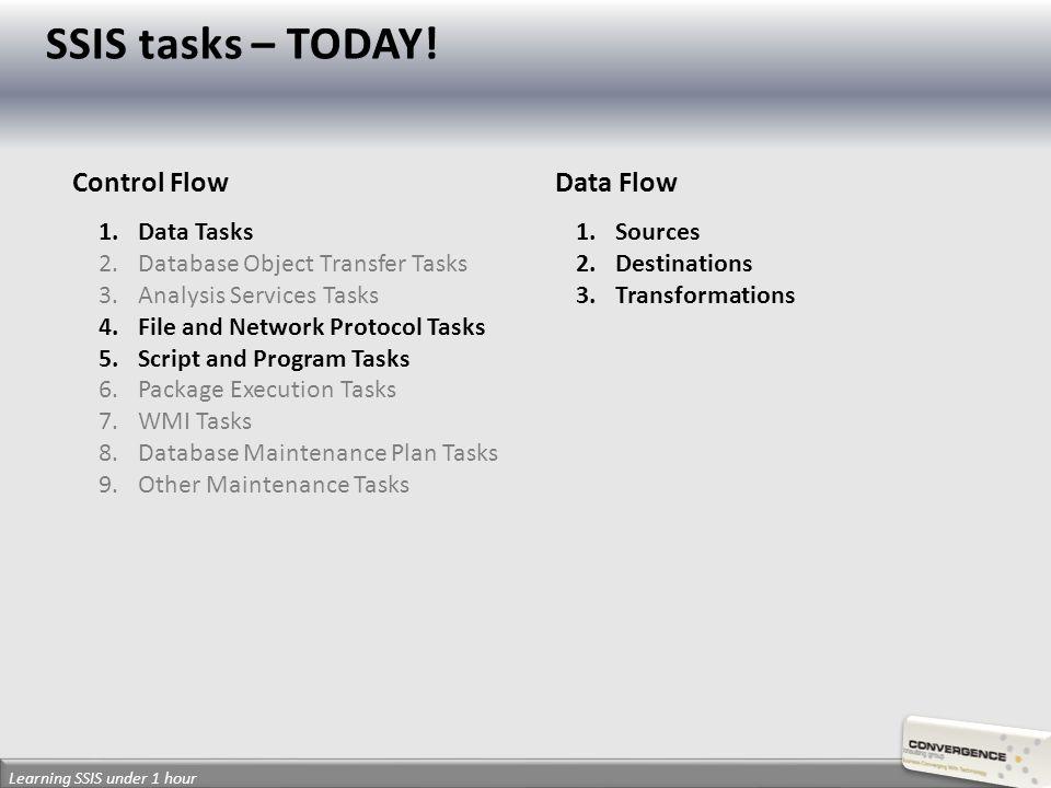 Learning SSIS under 1 hour Control FlowData Flow 1.Data Tasks 2.Database Object Transfer Tasks 3.Analysis Services Tasks 4.File and Network Protocol Tasks 5.Script and Program Tasks 6.Package Execution Tasks 7.WMI Tasks 8.Database Maintenance Plan Tasks 9.Other Maintenance Tasks 1.Sources 2.Destinations 3.Transformations