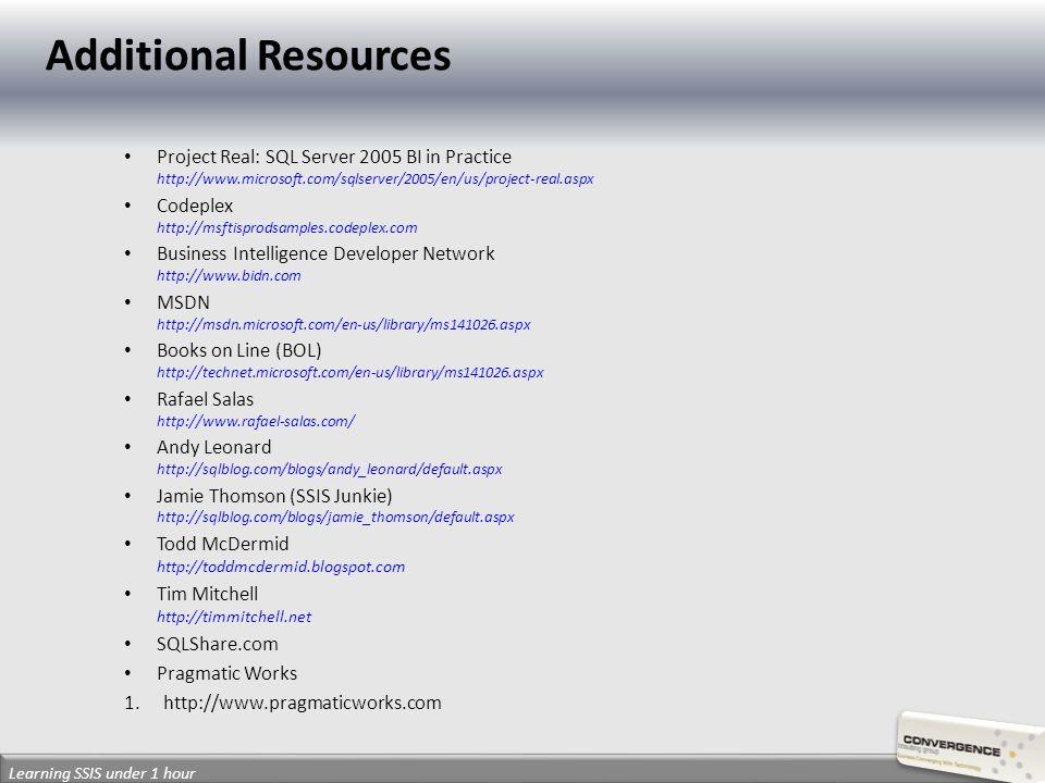 Project Real: SQL Server 2005 BI in Practice http://www.microsoft.com/sqlserver/2005/en/us/project-real.aspx Codeplex http://msftisprodsamples.codeple