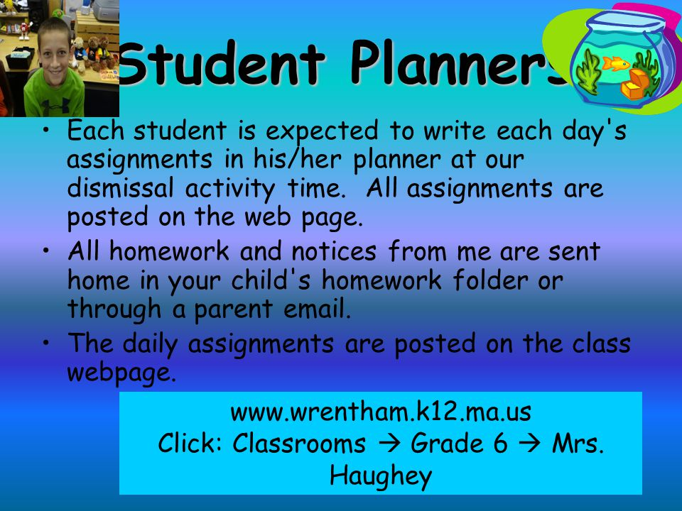 Homework Policy Each night during the week, students are expected to spend 1 hour on homework. Please contact me with any concerns. Homework Log If a