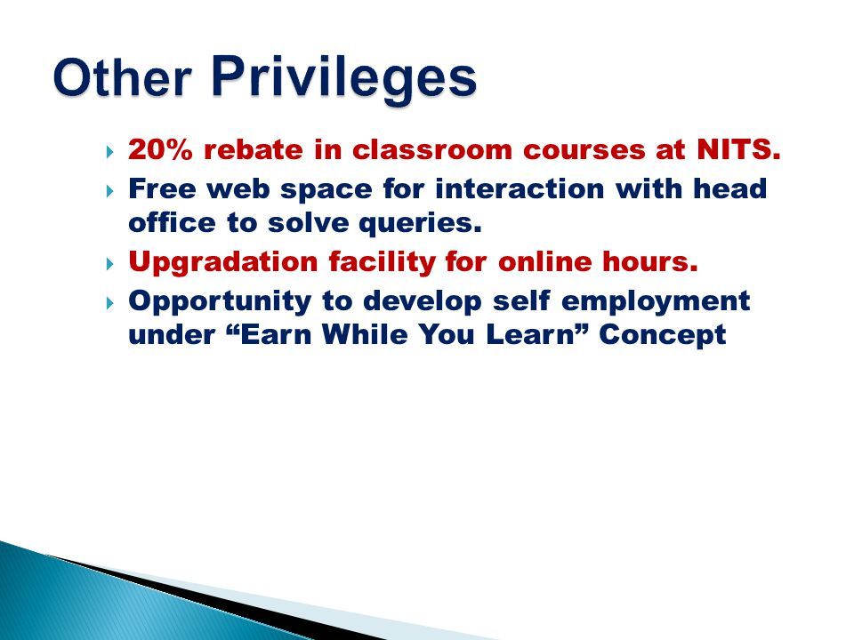 20% rebate in classroom courses at NITS.