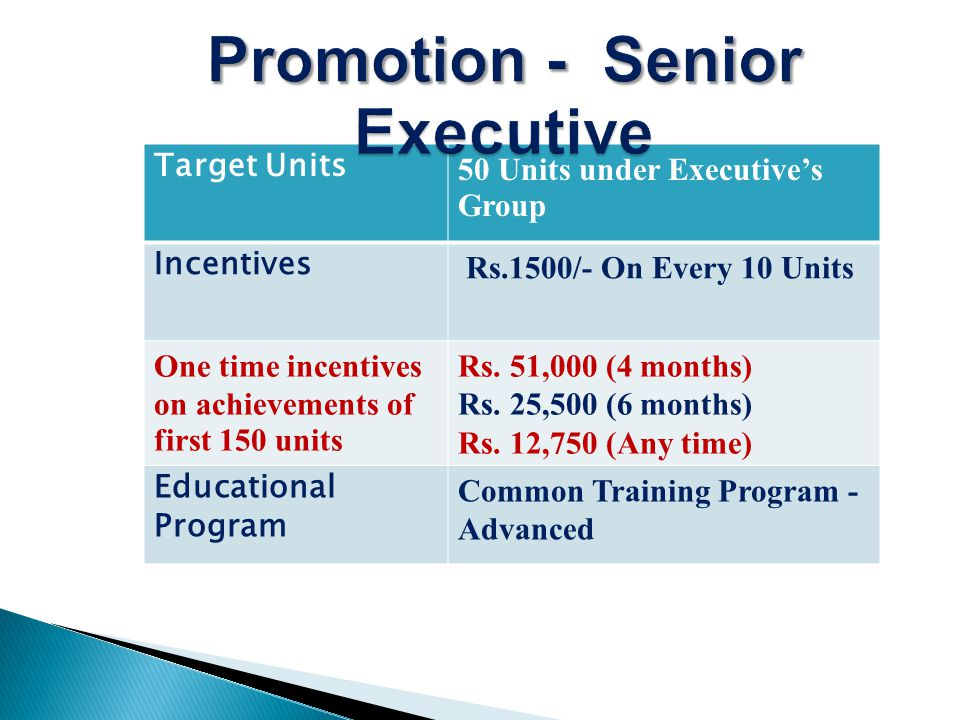 Target Units150 Units under Senior Executives Group Incentives Rs.4,500/- On Every 15 Units One time incentives on achievements of first 500 units Maruti Alto 800 (6 months) Rs.