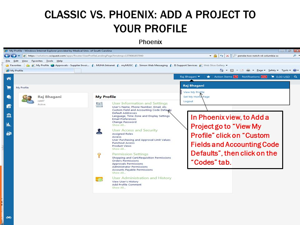 CLASSIC VS. PHOENIX: ADD A PROJECT TO YOUR PROFILE Phoenix In Phoenix view, to Add a Project go to View My Profile click on Custom Fields and Accounti