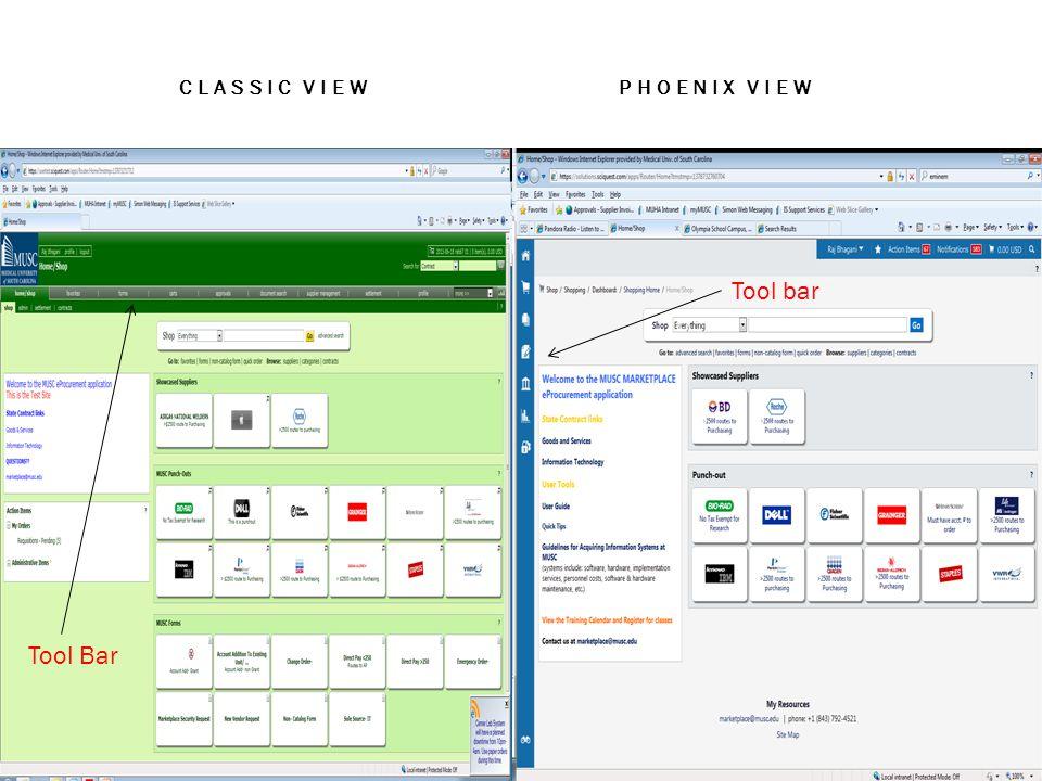 CLASSIC VIEW PHOENIX VIEW Tool Bar Tool bar