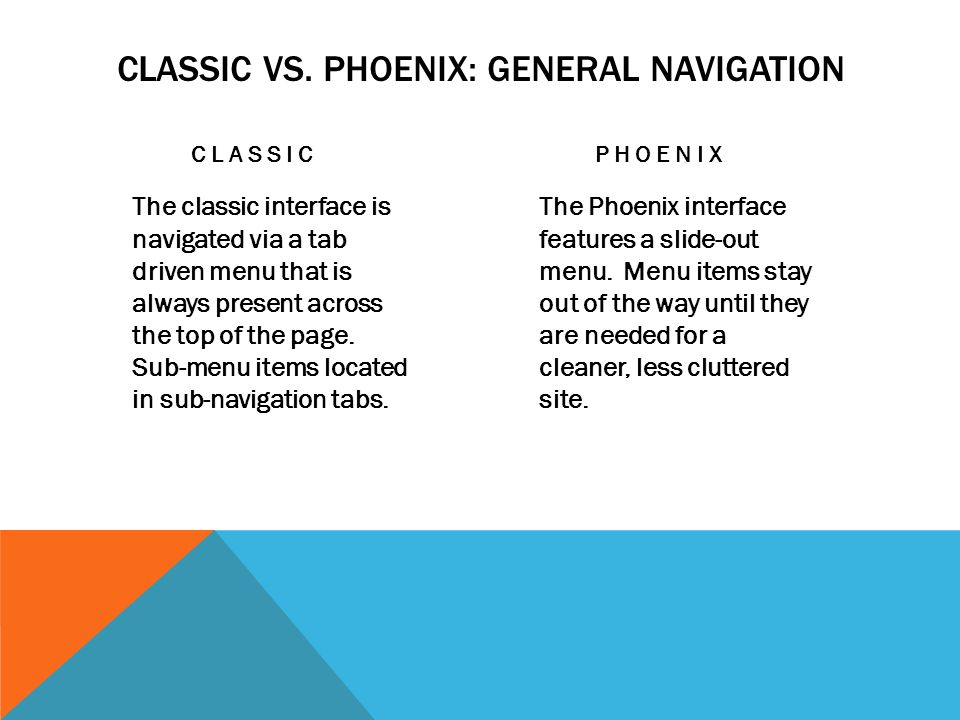 CLASSIC VS. PHOENIX: GENERAL NAVIGATION CLASSIC The classic interface is navigated via a tab driven menu that is always present across the top of the