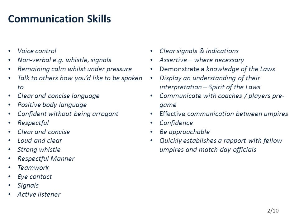 Communication Skills Voice control Non-verbal e.g.