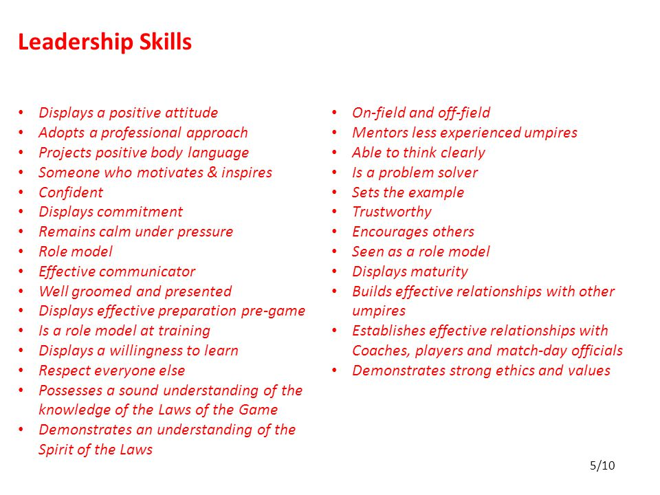 Leadership Skills Displays a positive attitude Adopts a professional approach Projects positive body language Someone who motivates & inspires Confident Displays commitment Remains calm under pressure Role model Effective communicator Well groomed and presented Displays effective preparation pre-game Is a role model at training Displays a willingness to learn Respect everyone else Possesses a sound understanding of the knowledge of the Laws of the Game Demonstrates an understanding of the Spirit of the Laws On-field and off-field Mentors less experienced umpires Able to think clearly Is a problem solver Sets the example Trustworthy Encourages others Seen as a role model Displays maturity Builds effective relationships with other umpires Establishes effective relationships with Coaches, players and match-day officials Demonstrates strong ethics and values 5/10