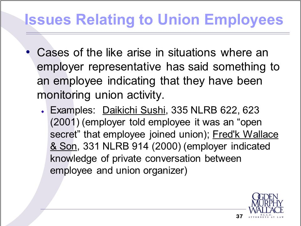 Cases of the like arise in situations where an employer representative has said something to an employee indicating that they have been monitoring uni