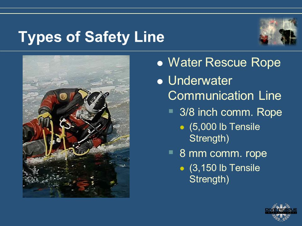 Types of Safety Line Water Rescue Rope Underwater Communication Line 3/8 inch comm. Rope (5,000 lb Tensile Strength) 8 mm comm. rope (3,150 lb Tensile
