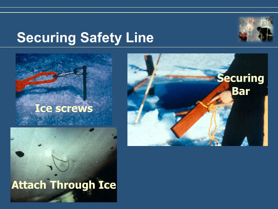Attach Through Ice Securing Safety Line Ice screws Securing Bar