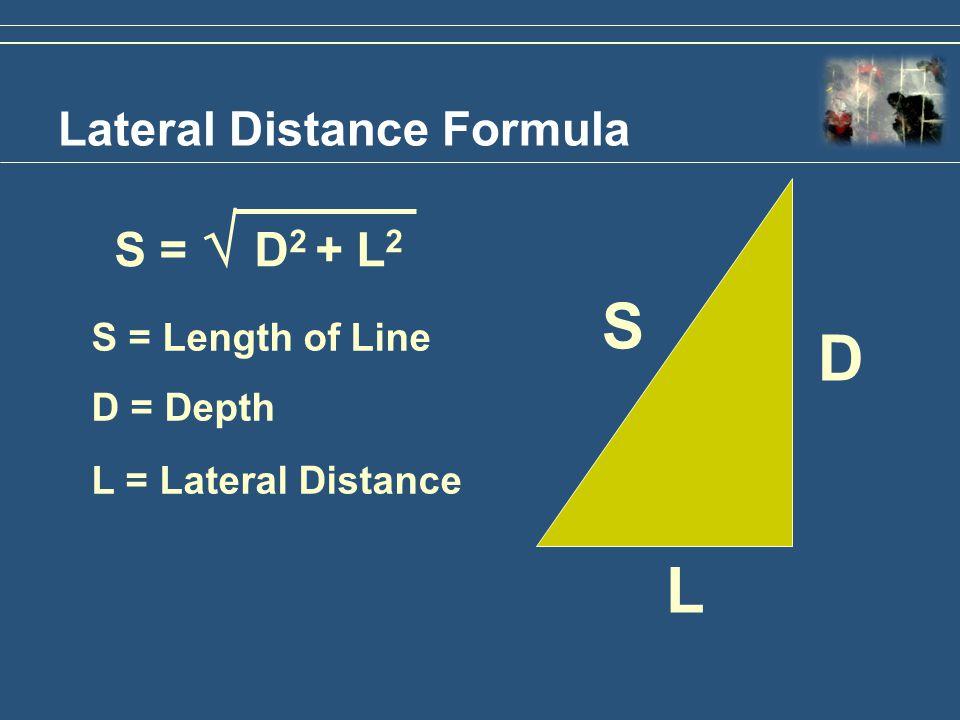 Lateral Distance Formula S = D 2 + L 2 S = Length of Line D = Depth L = Lateral Distance S D L