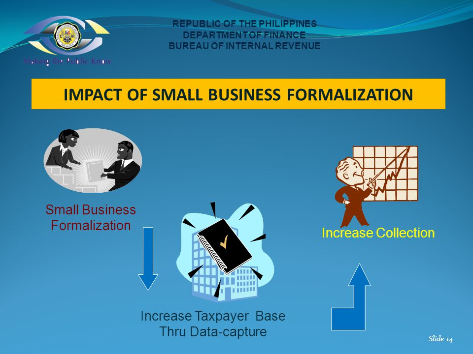 REPUBLIC OF THE PHILIPPINES DEPARTMENT OF FINANCE BUREAU OF INTERNAL REVENUE Small Business Formalization Increase Collection Increase Taxpayer Base T
