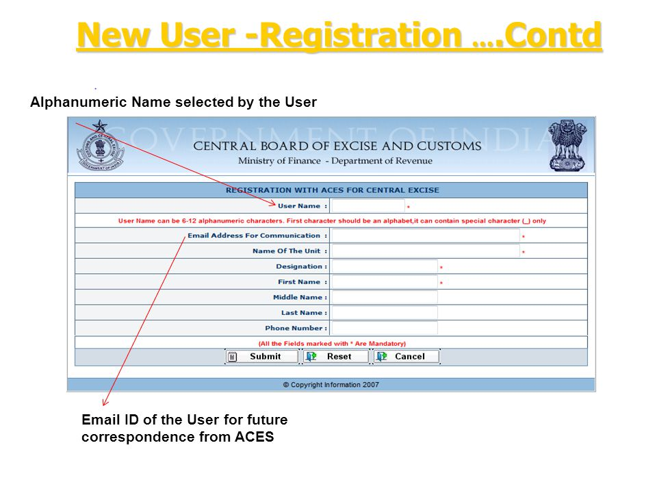 Alphanumeric Name selected by the User Email ID of the User for future correspondence from ACES New User -Registration ….Contd