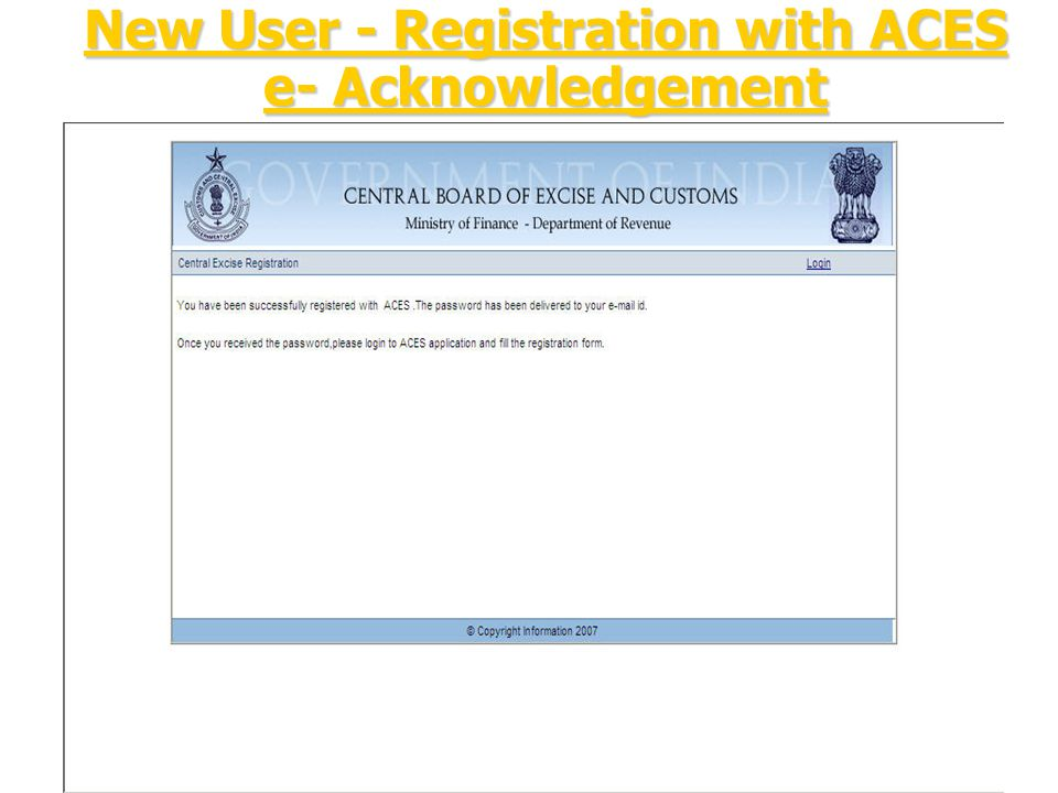 New User - Registration with ACES e- Acknowledgement