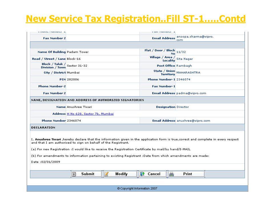 New Service Tax Registration..Fill ST-1…..Contd