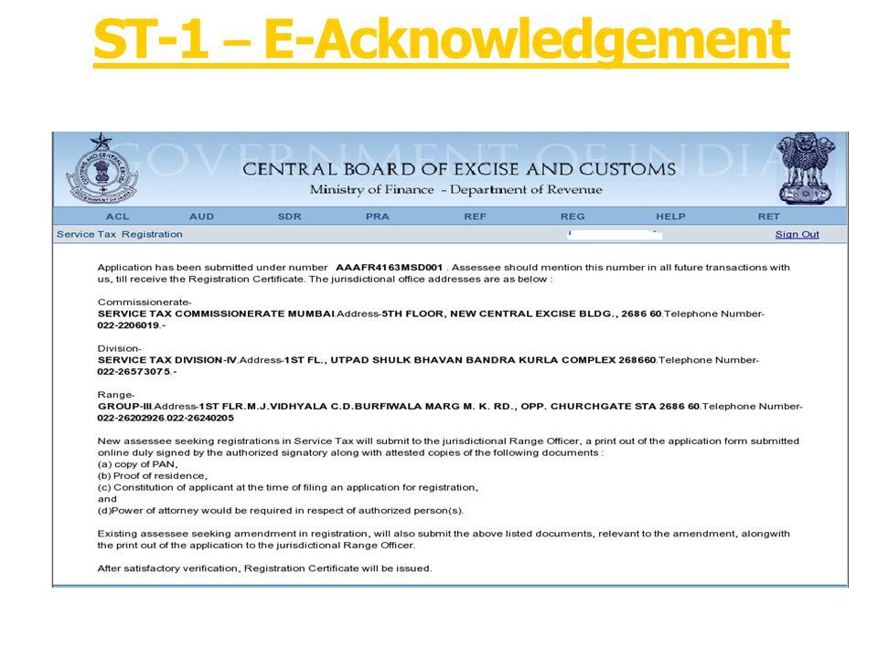 ST-1 – E-Acknowledgement