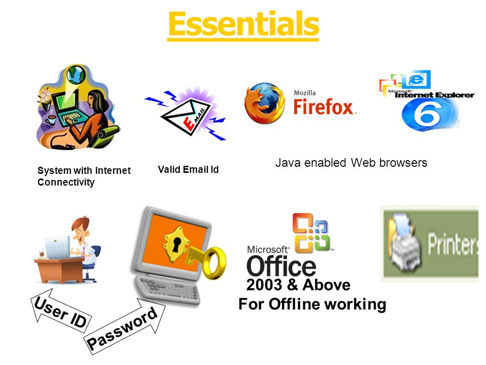 System with Internet Connectivity Valid Email Id Essentials 2003 & Above For Offline working Java enabled Web browsers User ID Password