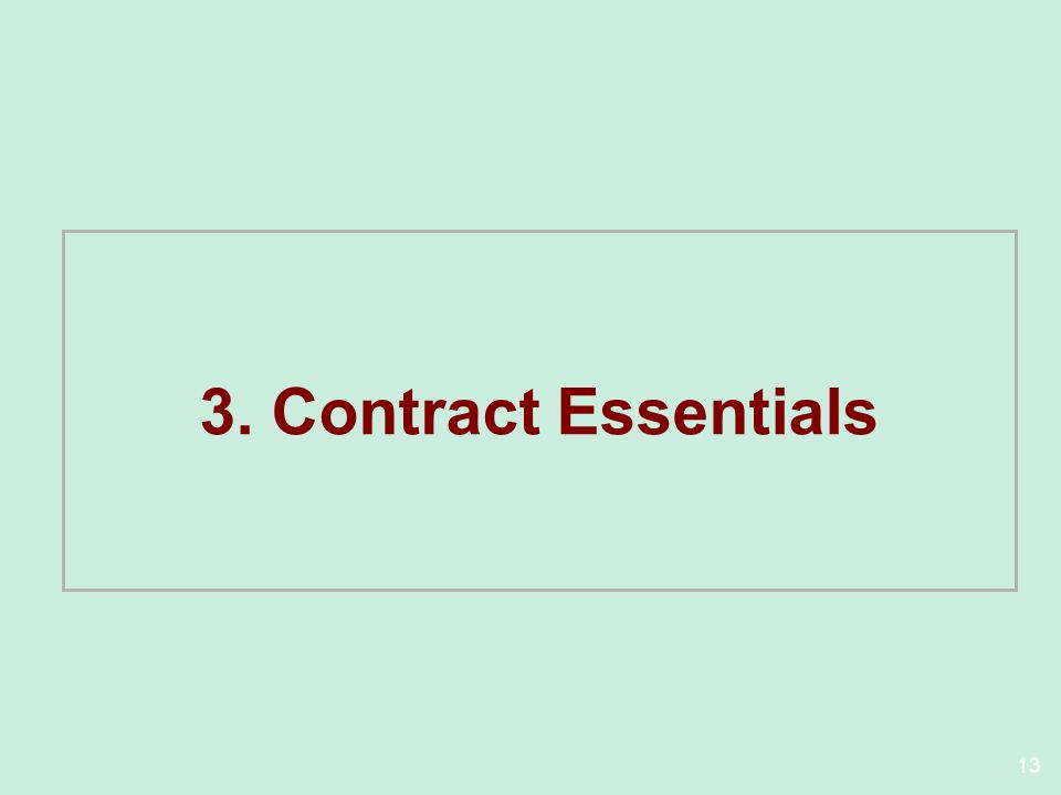 13 3. Contract Essentials