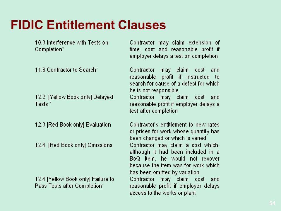 54 FIDIC Entitlement Clauses