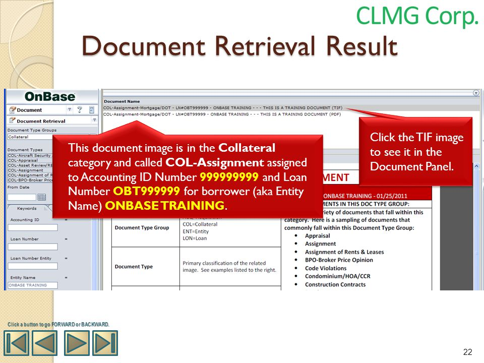 Click a button to go FORWARD or BACKWARD. Click the TIF image to see it in the Document Panel. This document image is in the Collateral category and c