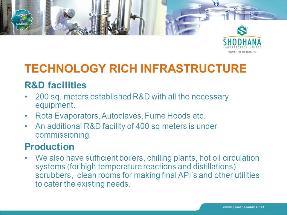 TECHNOLOGY RICH INFRASTRUCTURE R&D facilities 200 sq.
