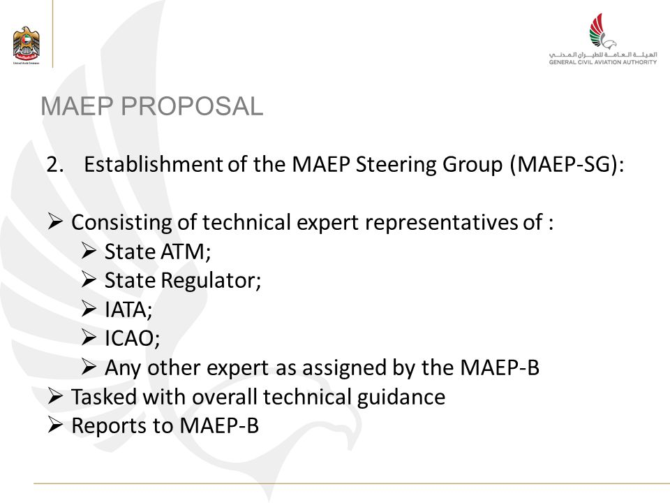 MAEP PROPOSAL 2.Establishment of the MAEP Steering Group (MAEP-SG): Consisting of technical expert representatives of : State ATM; State Regulator; IATA; ICAO; Any other expert as assigned by the MAEP-B Tasked with overall technical guidance Reports to MAEP-B