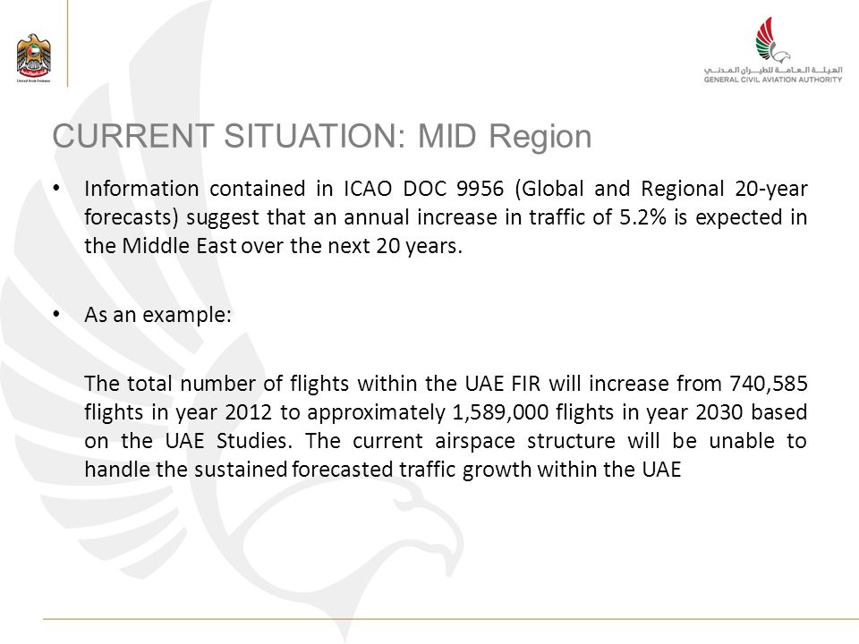 CURRENT SITUATION: MID Region Information contained in ICAO DOC 9956 (Global and Regional 20-year forecasts) suggest that an annual increase in traffic of 5.2% is expected in the Middle East over the next 20 years.