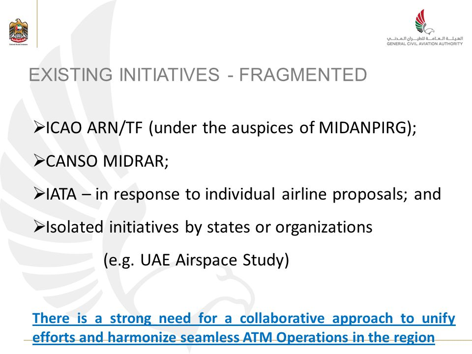 EXISTING INITIATIVES - FRAGMENTED ICAO ARN/TF (under the auspices of MIDANPIRG); CANSO MIDRAR; IATA – in response to individual airline proposals; and