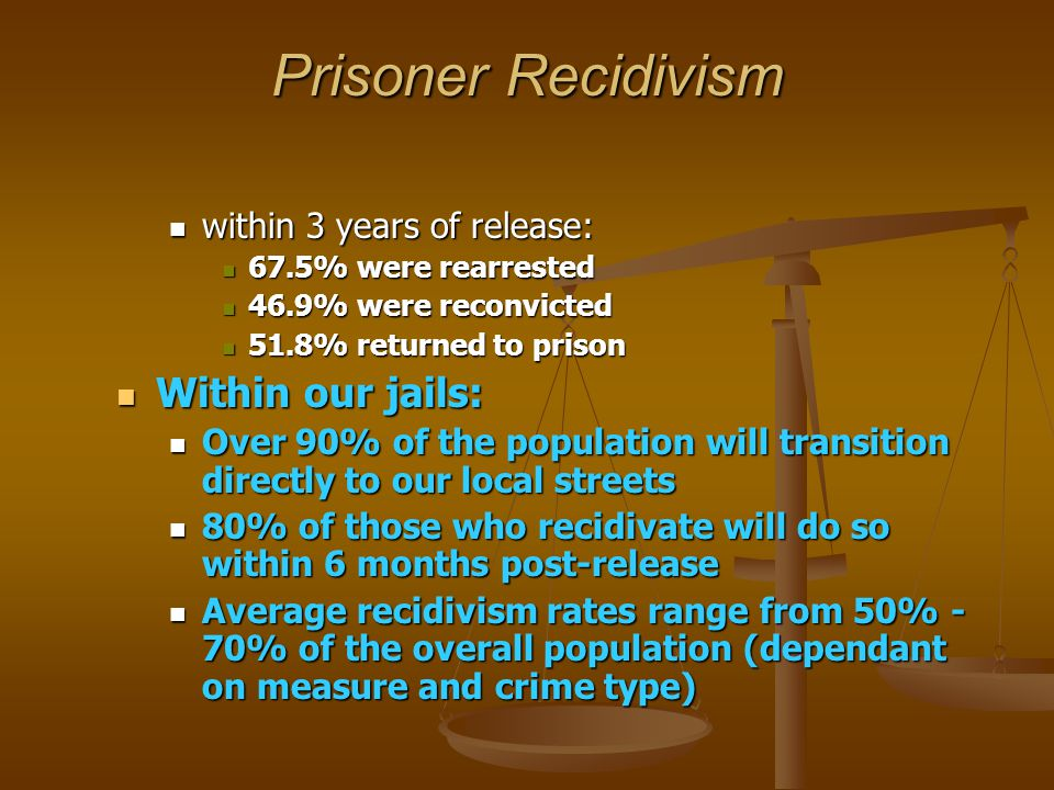 Prisoner Recidivism within 3 years of release: within 3 years of release: 67.5% were rearrested 67.5% were rearrested 46.9% were reconvicted 46.9% were reconvicted 51.8% returned to prison 51.8% returned to prison Within our jails: Within our jails: Over 90% of the population will transition directly to our local streets Over 90% of the population will transition directly to our local streets 80% of those who recidivate will do so within 6 months post-release 80% of those who recidivate will do so within 6 months post-release Average recidivism rates range from 50% - 70% of the overall population (dependant on measure and crime type) Average recidivism rates range from 50% - 70% of the overall population (dependant on measure and crime type)