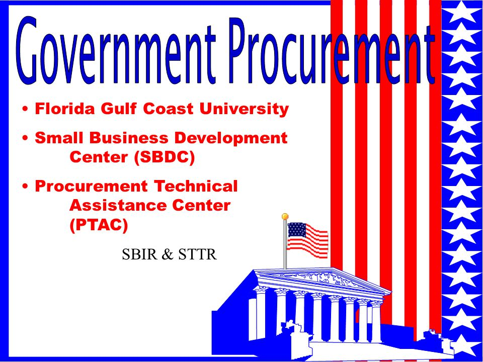 1 Florida Gulf Coast University Small Business Development Center (SBDC) Procurement Technical Assistance Center (PTAC) SBIR & STTR