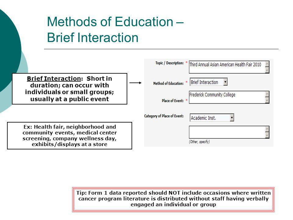 Methods of Education – Brief Interaction Brief Interaction: Short in duration; can occur with individuals or small groups; usually at a public event E