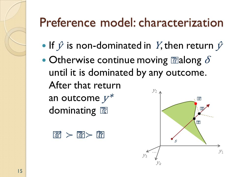 Preference model: characterization 15 y2y2 y1y1 ykyk... y3y3 s If ŷ is non-dominated in Y, then return ŷ Otherwise continue moving along δ until it is
