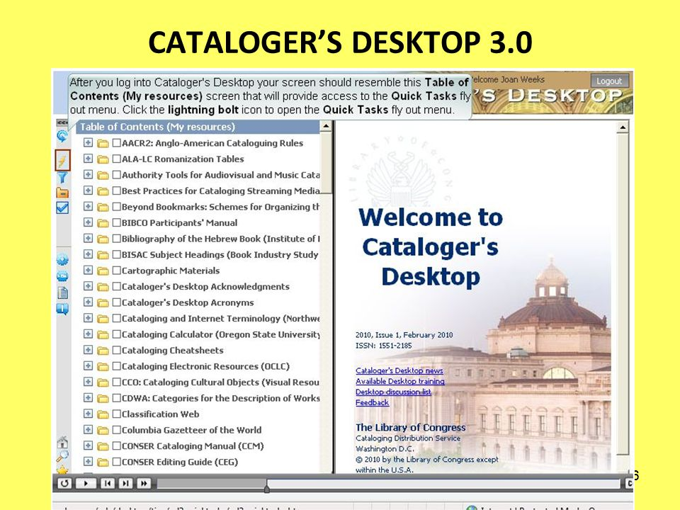 225 CATALOGERS DESKTOP 3.0 ENHANCEMENTS Fuzzy matching Search relevancy Search history Query federation Personal searching Customizable interface & display of resources Intuitive structure Drag & drop icons