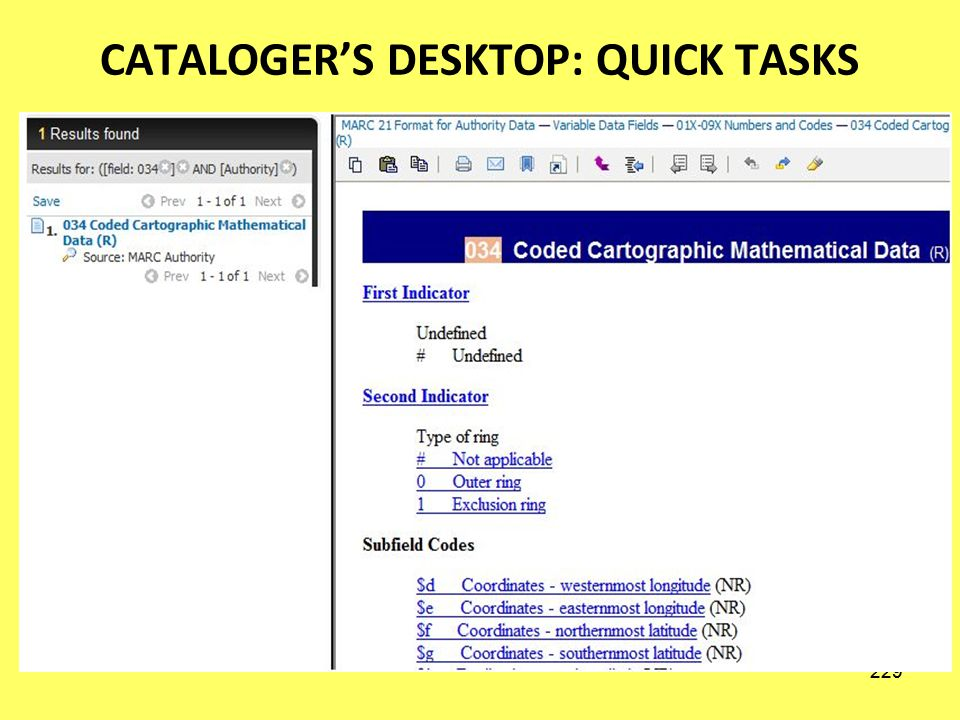 228 CATALOGERS DESKTOP: QUICK TASKS