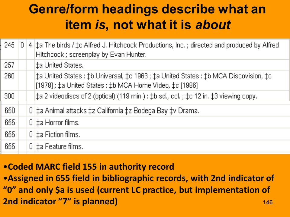145 Topical Headings Coded MARC field 150 in authority records Assigned in 650 in bibs, with appropriate subdivisions (although application of some form & topical subdivisions may be reconsidered)