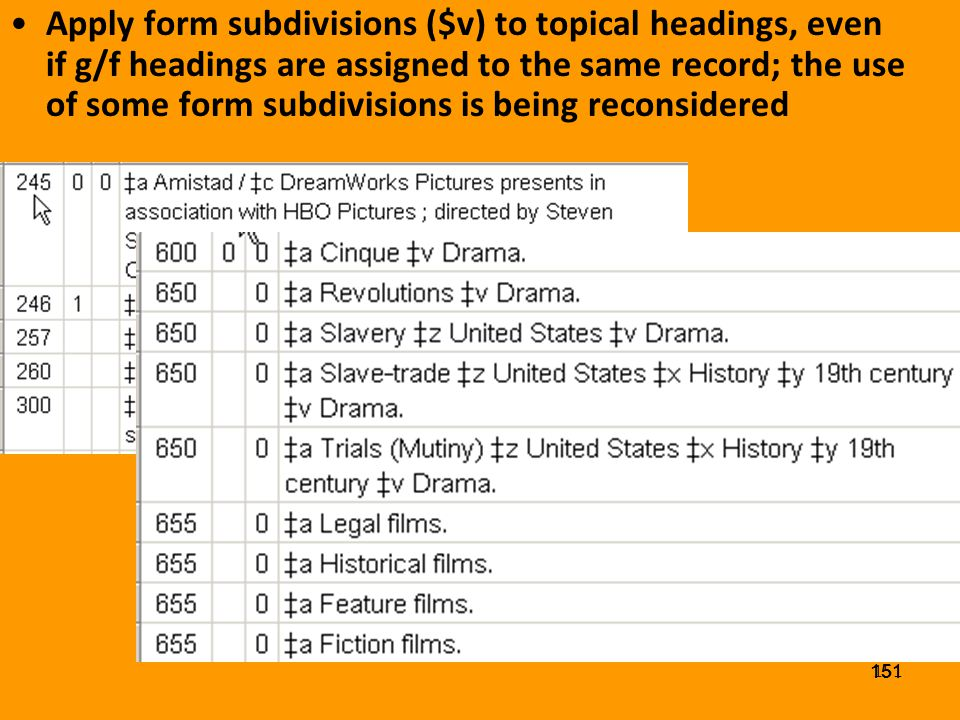 150 Genre/Form Headings G/F headings may not be subdivided topically, geographically, chronologically, or by form (LC) Genre/form headings cannot be used as topical headings, but must be proposed separately to establish them as such Other libraries may apply a topical heading (150) as a G/F heading, provided the scope note defines it for use for works of a given type –e.g.