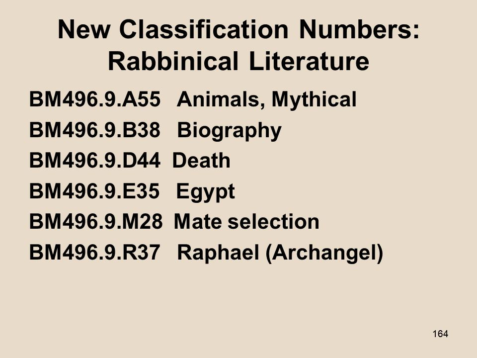 163 New Classification Numbers: Jewish Ethics/Judaism BJ1286.G73 Gratitude BM175.S83 Subbotniki BM538.E38 Eating disorders BM670.S43 She-lo aśani ishah.