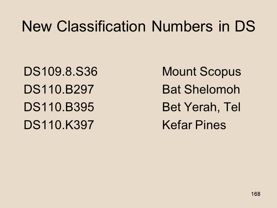 167 New Class Numbers in DS History of Asia Israel (Palestine).The JewsRegions, towns, etc.