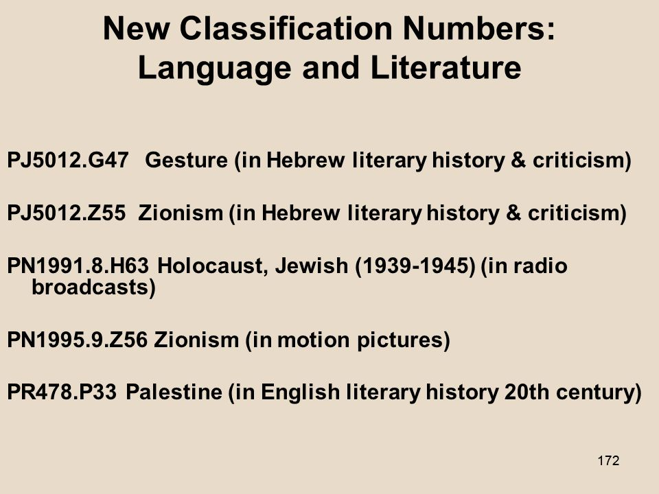 171 New Classification Numbers: Miscellaneous HF5415.332.J49 Jews (Consumers) KBM717 Mortgage.